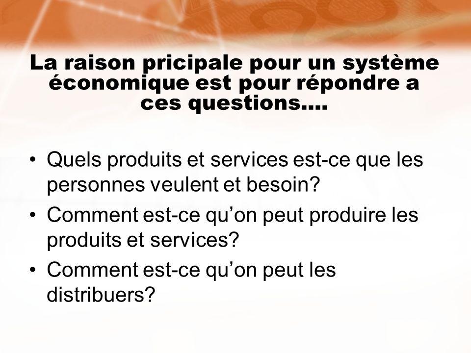 La raison pricipale pour un système économique est pour répondre a ces questions.... Quels produits et services est-ce que les personnes veulent et be