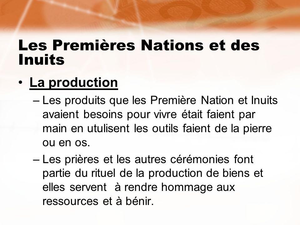 Les Premières Nations et des Inuits La production –Les produits que les Première Nation et Inuits avaient besoins pour vivre était faient par main en