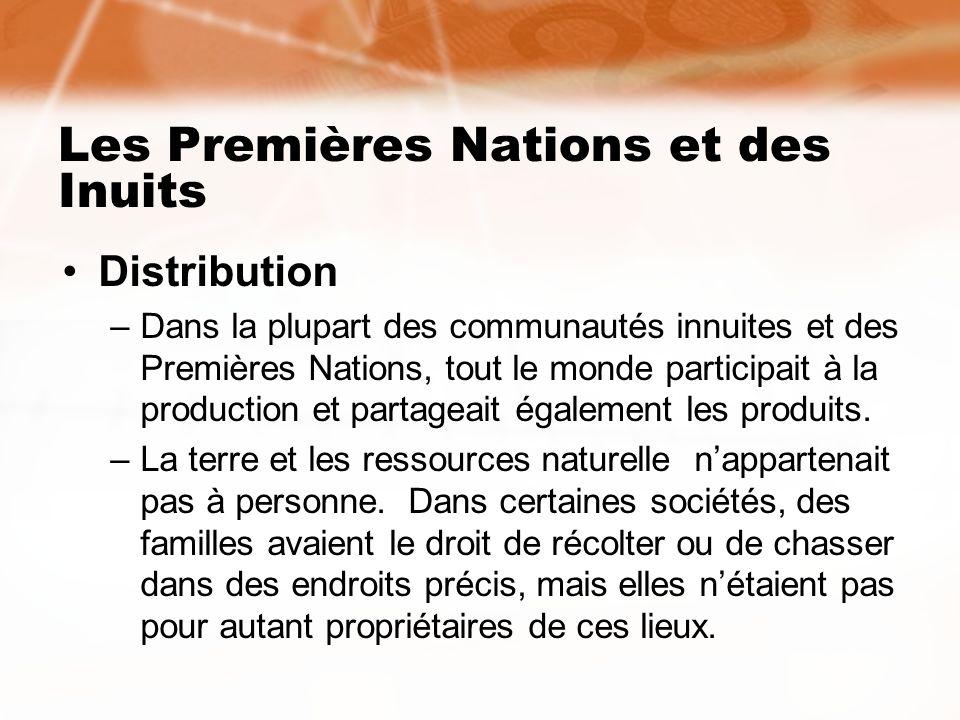 Les Premières Nations et des Inuits Distribution –Dans la plupart des communautés innuites et des Premières Nations, tout le monde participait à la pr