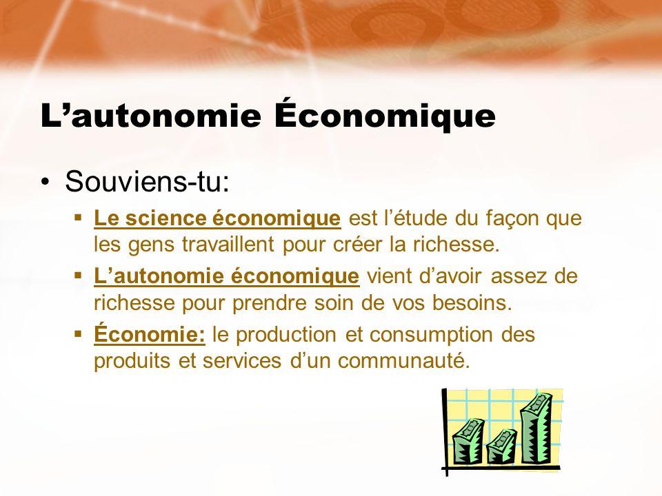 Lautonomie Économique Souviens-tu: Le science économique est létude du façon que les gens travaillent pour créer la richesse. Lautonomie économique vi