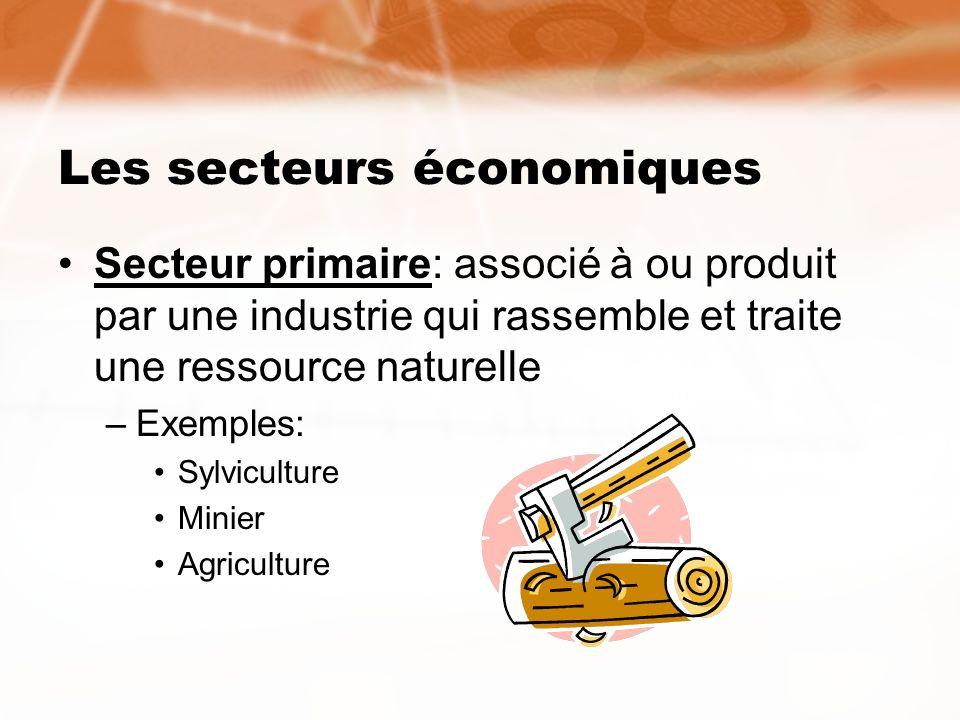 Les secteurs économiques Secteur primaire: associé à ou produit par une industrie qui rassemble et traite une ressource naturelle –Exemples: Sylvicult