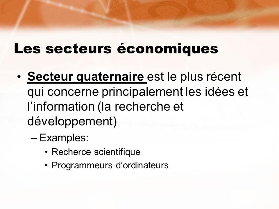 Les secteurs économiques Secteur quaternaire est le plus récent qui concerne principalement les idées et linformation (la recherche et développement)