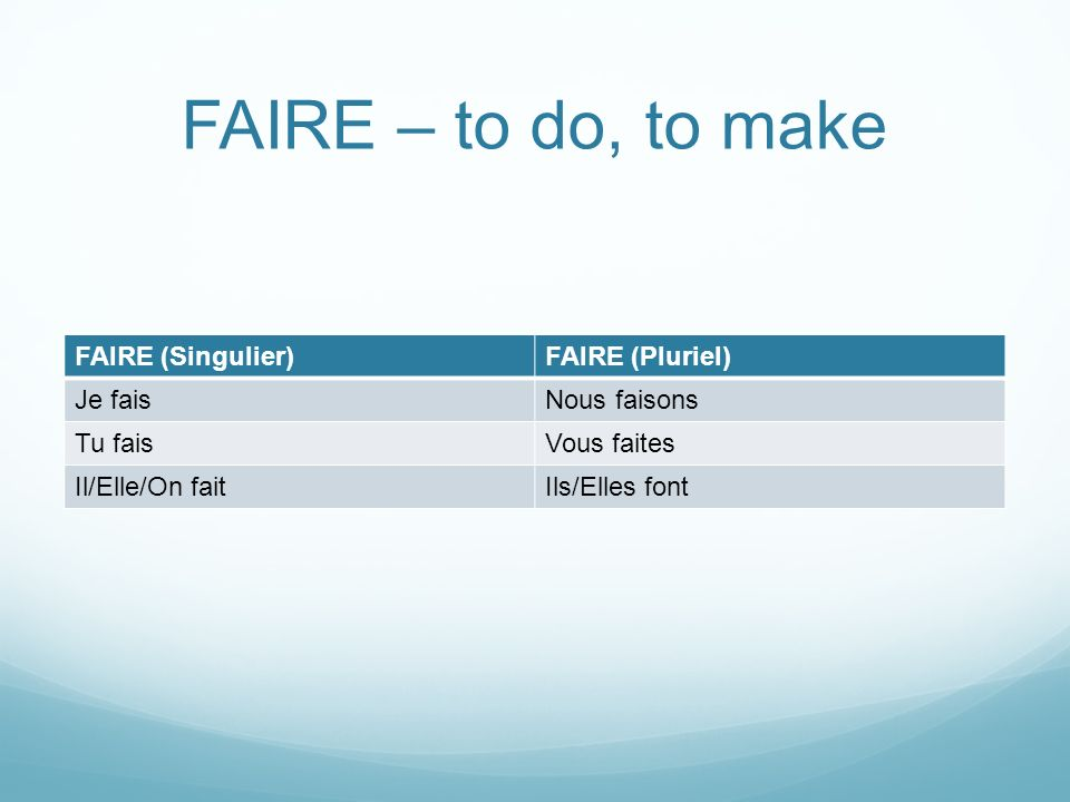 FAIRE in many expressions FAIRE is used in many expressions that take a different verb in English.