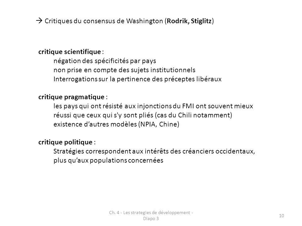Ch. 4 - Les strategies de développement - Diapo 3 10 Critiques du consensus de Washington (Rodrik, Stiglitz) critique scientifique : négation des spéc