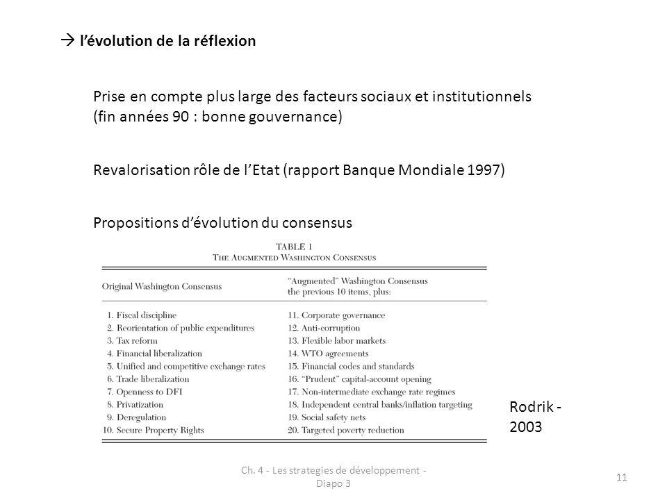 Ch. 4 - Les strategies de développement - Diapo 3 11 lévolution de la réflexion Prise en compte plus large des facteurs sociaux et institutionnels (fi