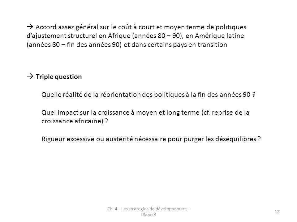 Ch. 4 - Les strategies de développement - Diapo 3 12 Accord assez général sur le coût à court et moyen terme de politiques dajustement structurel en A