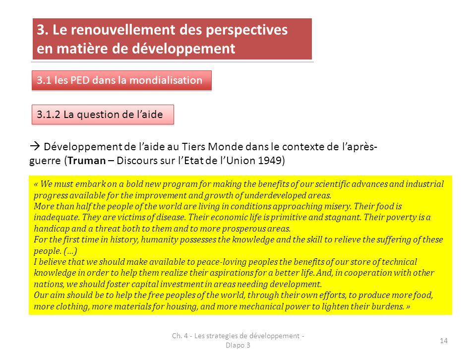 Ch. 4 - Les strategies de développement - Diapo 3 14 3. Le renouvellement des perspectives en matière de développement 3.1 les PED dans la mondialisat