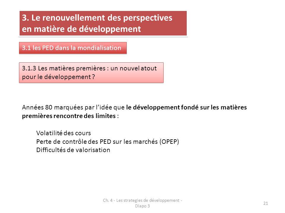 Ch. 4 - Les strategies de développement - Diapo 3 21 3. Le renouvellement des perspectives en matière de développement 3.1 les PED dans la mondialisat