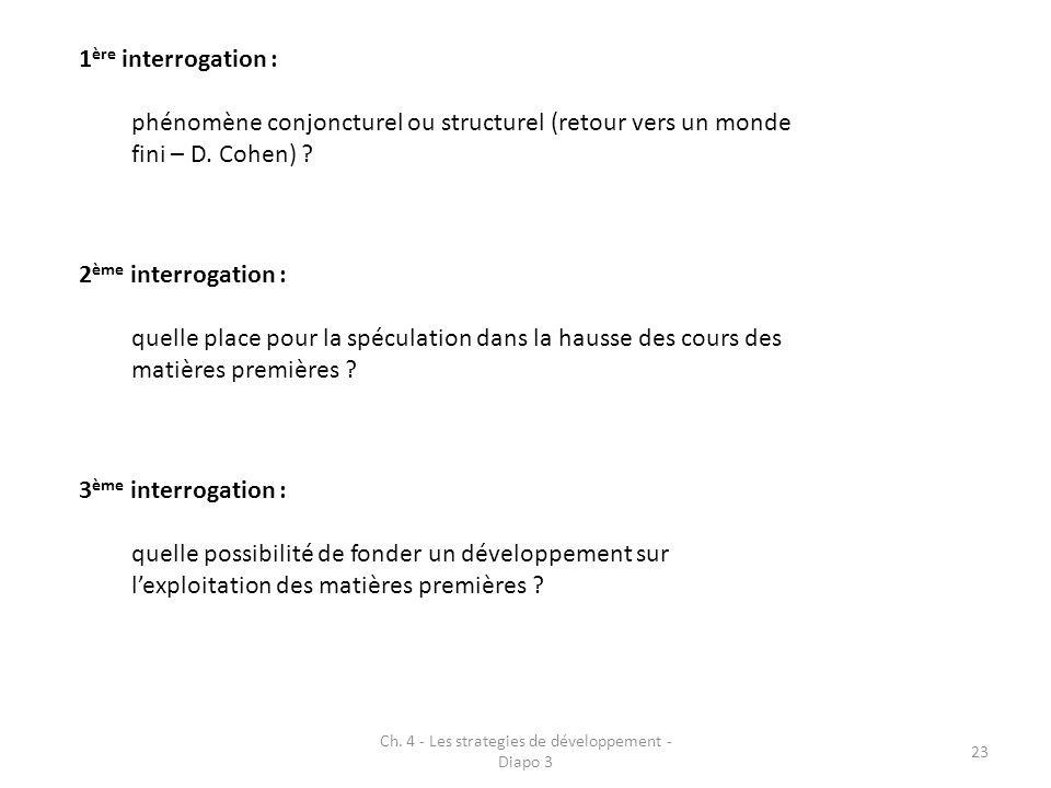 Ch. 4 - Les strategies de développement - Diapo 3 23 1 ère interrogation : phénomène conjoncturel ou structurel (retour vers un monde fini – D. Cohen)