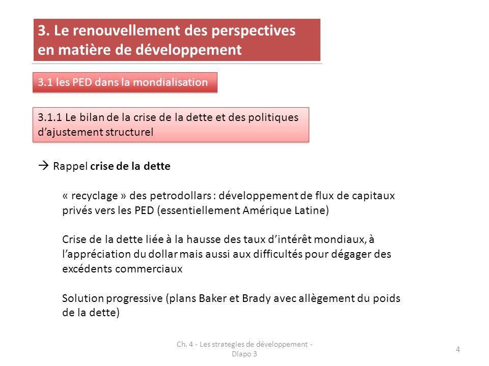 4 3. Le renouvellement des perspectives en matière de développement 3.1 les PED dans la mondialisation 3.1.1 Le bilan de la crise de la dette et des p