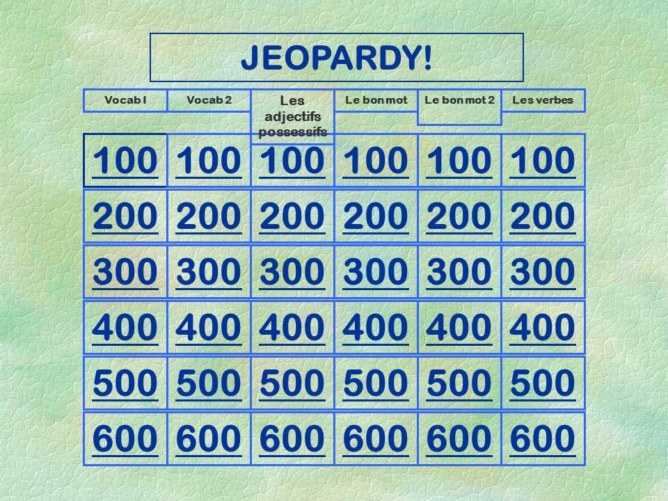 JEOPARDY! The game of Language Révision Unité 5