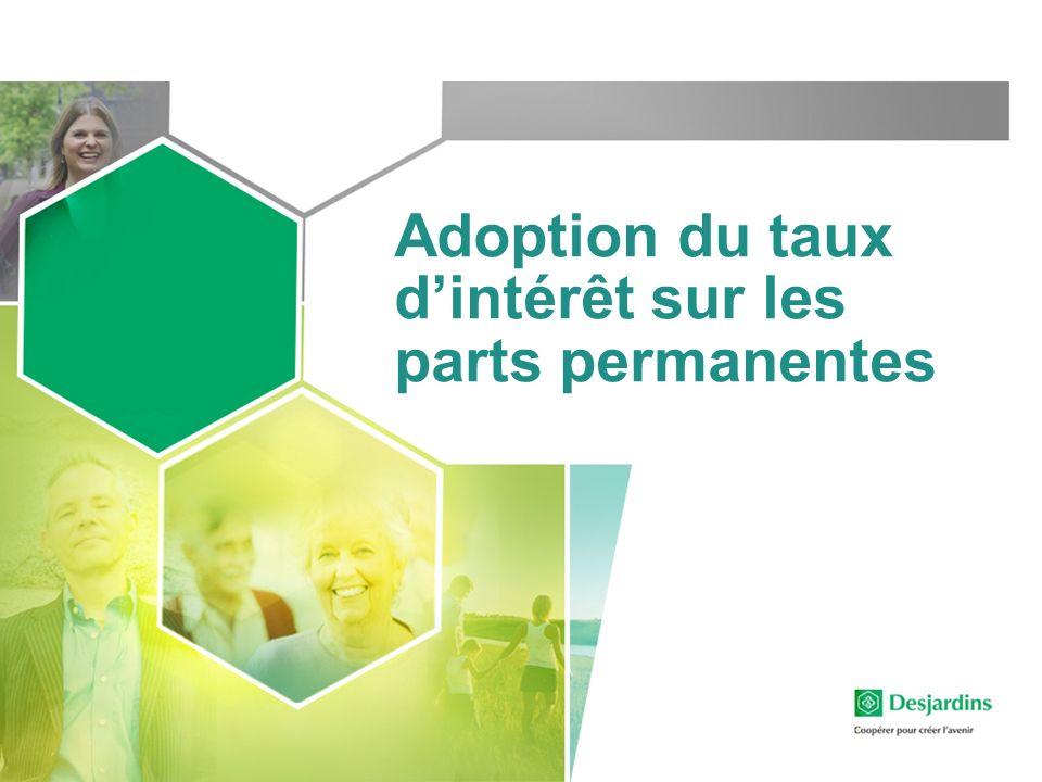 Adoption du taux dintérêt sur les parts permanentes