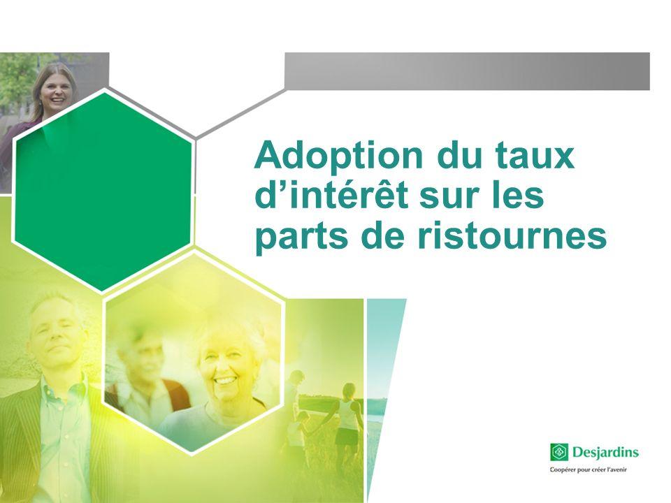 Adoption du taux dintérêt sur les parts de ristournes