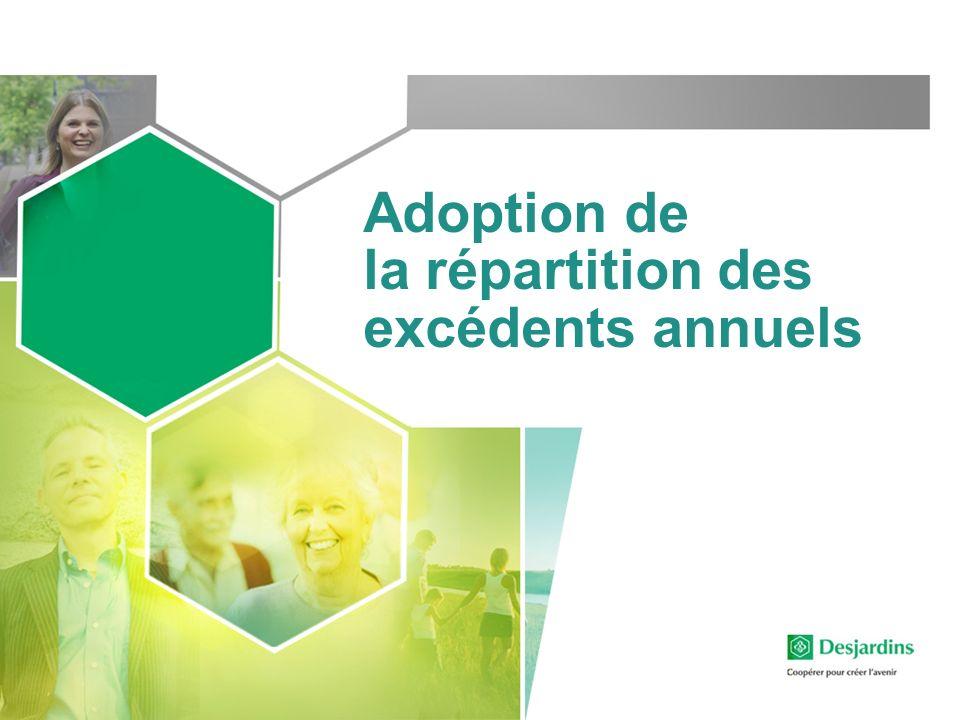 Adoption de la répartition des excédents annuels