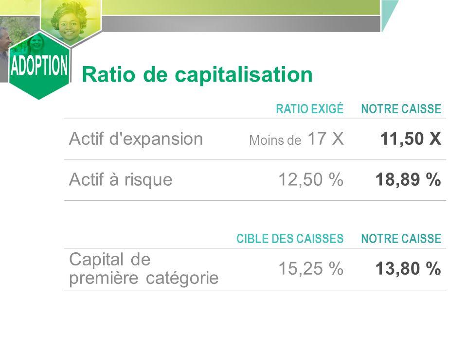 Ratio de capitalisation RATIO EXIGÉNOTRE CAISSE Actif d expansion Moins de 17 X11,50 X Actif à risque12,50 %18,89 % CIBLE DES CAISSESNOTRE CAISSE Capital de première catégorie 15,25 %13,80 %