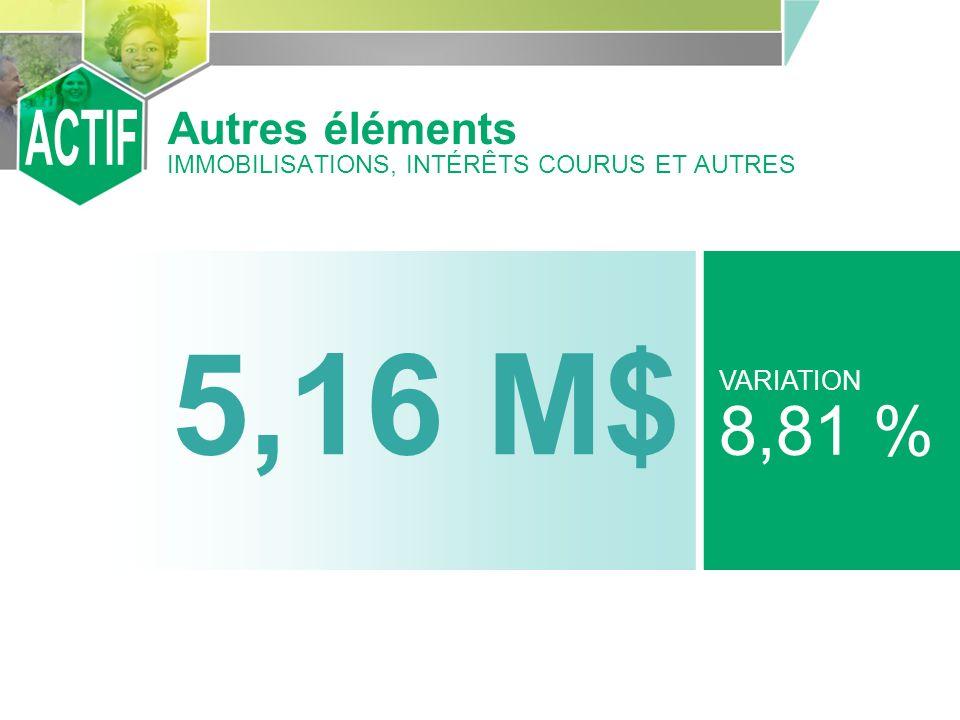 5,16 M$ VARIATION 8,81 % Autres éléments IMMOBILISATIONS, INTÉRÊTS COURUS ET AUTRES