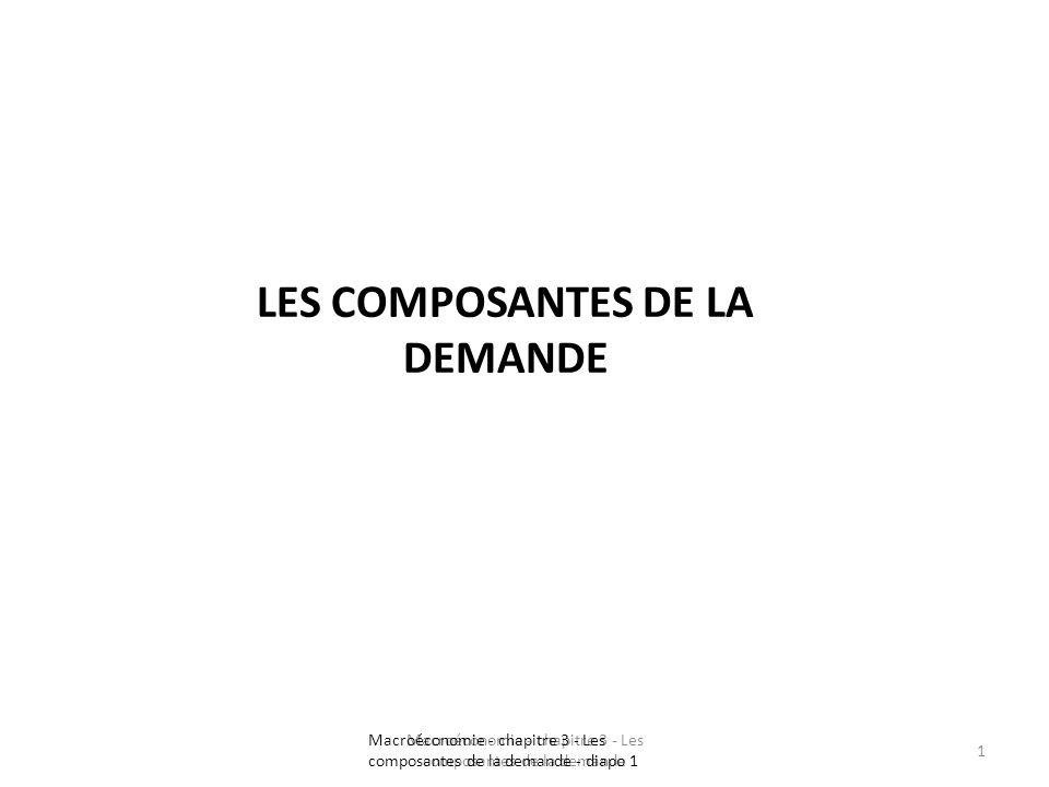 LES COMPOSANTES DE LA DEMANDE Macroéconomie - chapitre 3 - Les composantes de la demande 1 Macroéconomie - chapitre 3 - Les composantes de la demande
