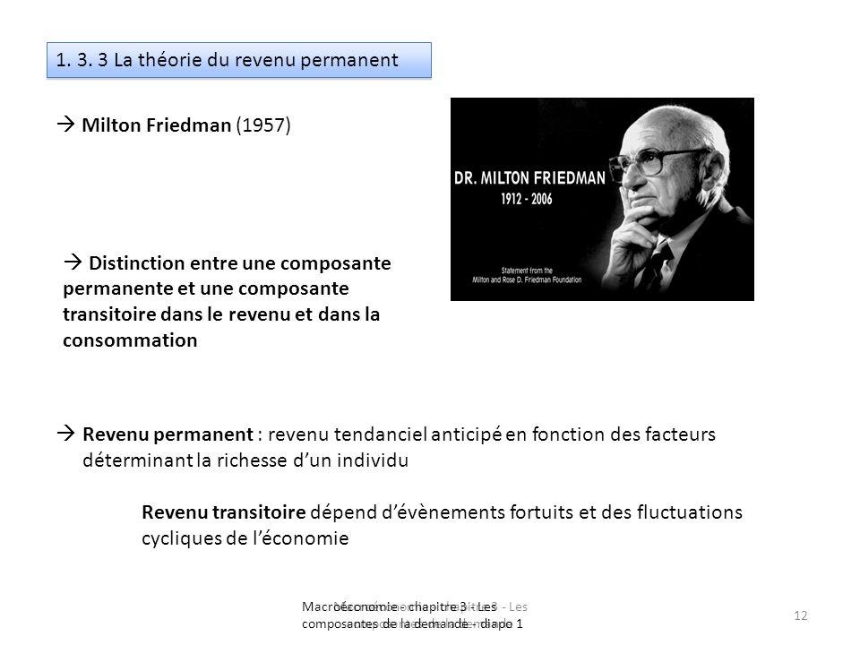 Macroéconomie - chapitre 3 - Les composantes de la demande 12 1. 3. 3 La théorie du revenu permanent Milton Friedman (1957) Distinction entre une comp
