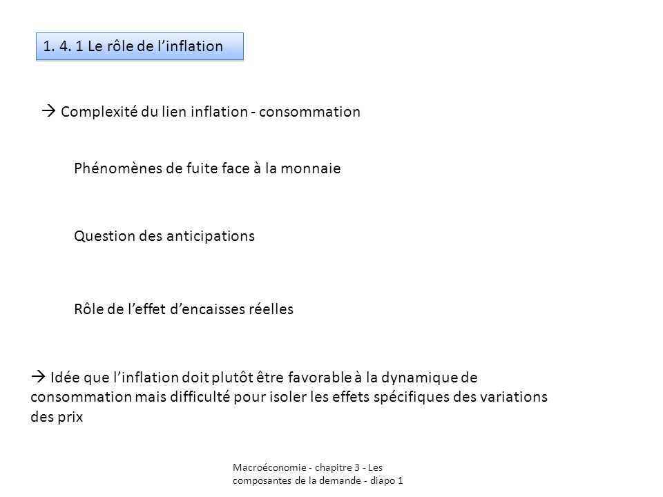 1. 4. 1 Le rôle de linflation Complexité du lien inflation - consommation Phénomènes de fuite face à la monnaie Question des anticipations Rôle de lef
