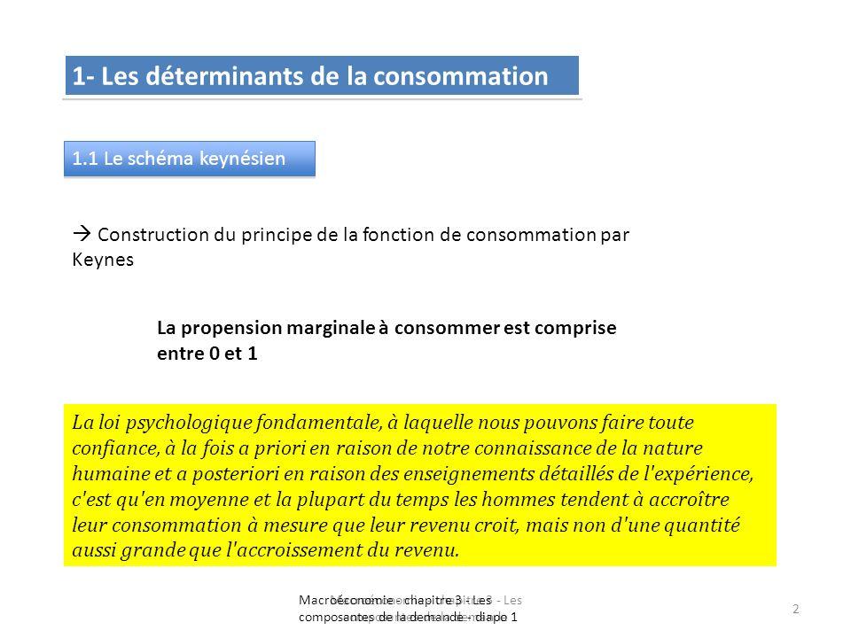 Macroéconomie - chapitre 3 - Les composantes de la demande 2 1- Les déterminants de la consommation 1.1 Le schéma keynésien Construction du principe d