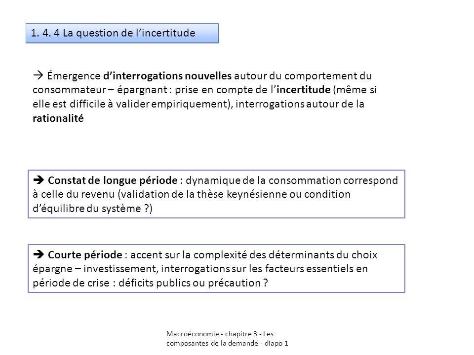 Macroéconomie - chapitre 3 - Les composantes de la demande - diapo 1 1. 4. 4 La question de lincertitude Émergence dinterrogations nouvelles autour du