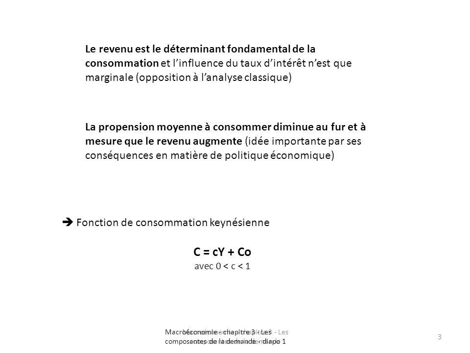 Macroéconomie - chapitre 3 - Les composantes de la demande 3 Le revenu est le déterminant fondamental de la consommation et linfluence du taux dintérê