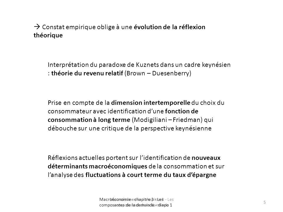 Macroéconomie - chapitre 3 - Les composantes de la demande 5 Constat empirique oblige à une évolution de la réflexion théorique Interprétation du para