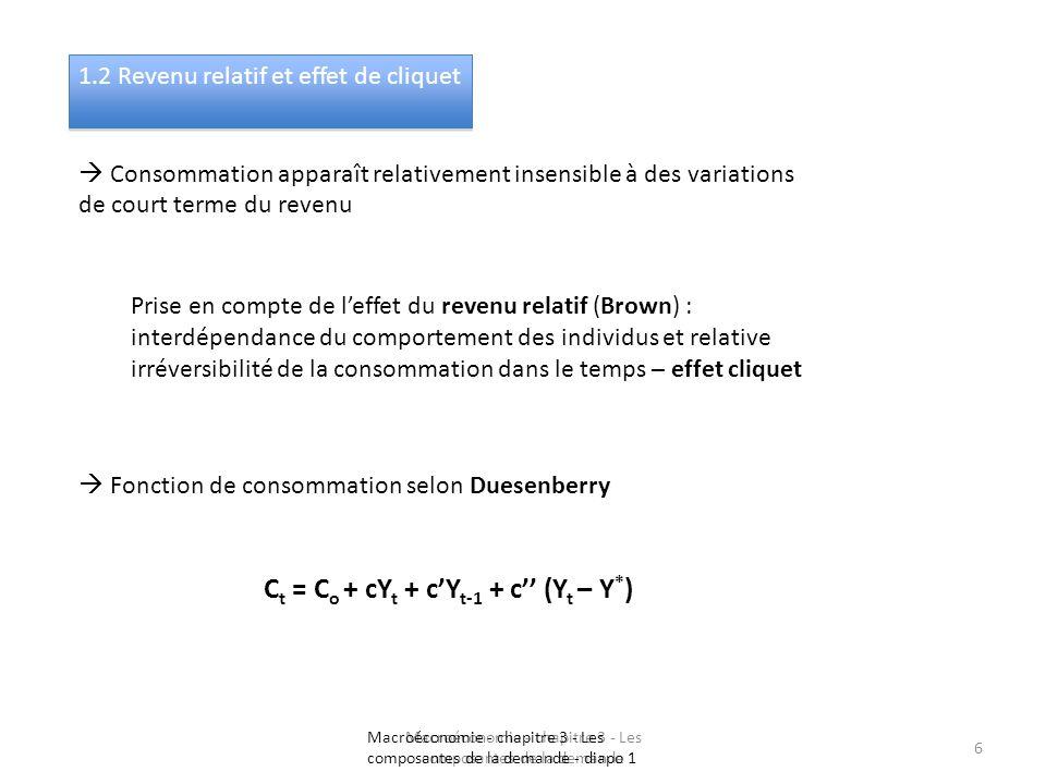 Macroéconomie - chapitre 3 - Les composantes de la demande 6 1.2 Revenu relatif et effet de cliquet Consommation apparaît relativement insensible à de