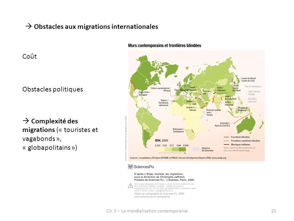 Ch. 5 – La mondialisation contemporaine21 Obstacles aux migrations internationales Coût Obstacles politiques Complexité des migrations (« touristes et