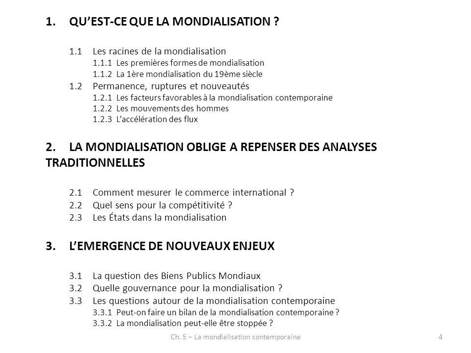 Ch.5 – La mondialisation contemporaine15 1.QUEST-CE QUE LA MONDIALISATION .