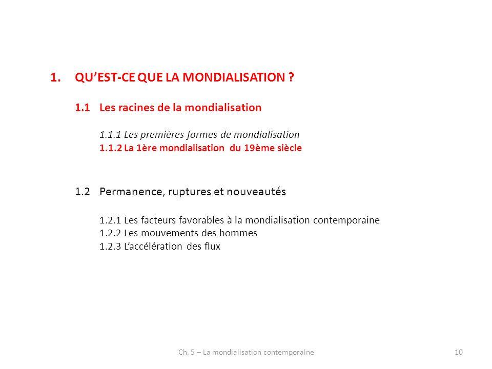 Ch. 5 – La mondialisation contemporaine10 1.QUEST-CE QUE LA MONDIALISATION ? 1.1Les racines de la mondialisation 1.1.1Les premières formes de mondiali