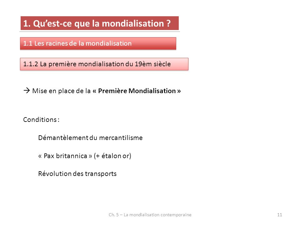 Ch. 5 – La mondialisation contemporaine11 1. Quest-ce que la mondialisation ? 1.1 Les racines de la mondialisation 1.1.2 La première mondialisation du