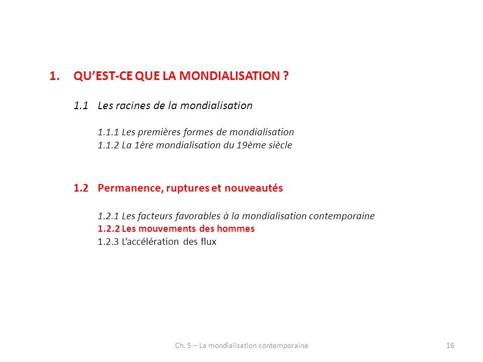 Ch. 5 – La mondialisation contemporaine16 1.QUEST-CE QUE LA MONDIALISATION ? 1.1Les racines de la mondialisation 1.1.1Les premières formes de mondiali