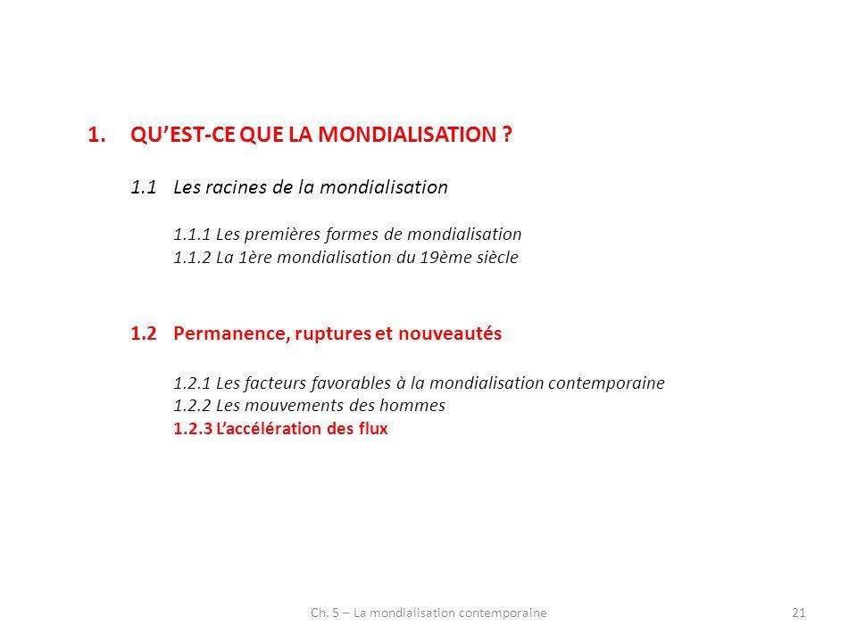 Ch. 5 – La mondialisation contemporaine21 1.QUEST-CE QUE LA MONDIALISATION ? 1.1Les racines de la mondialisation 1.1.1Les premières formes de mondiali
