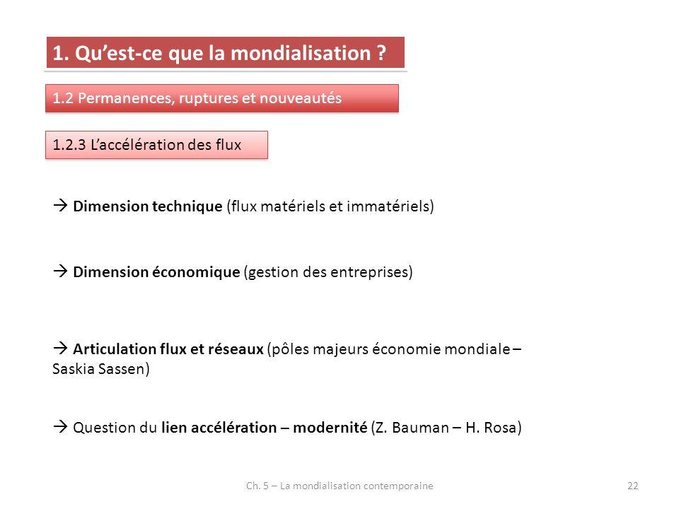 Ch. 5 – La mondialisation contemporaine22 1. Quest-ce que la mondialisation ? 1.2 Permanences, ruptures et nouveautés 1.2.3 Laccélération des flux Dim