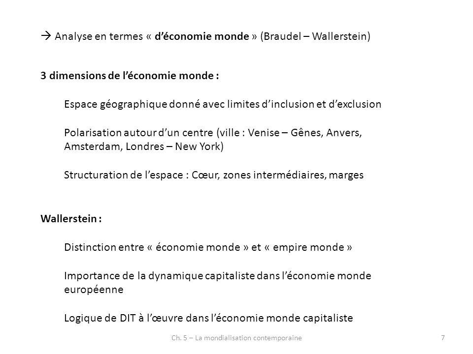 Ch. 5 – La mondialisation contemporaine7 Analyse en termes « déconomie monde » (Braudel – Wallerstein) 3 dimensions de léconomie monde : Espace géogra