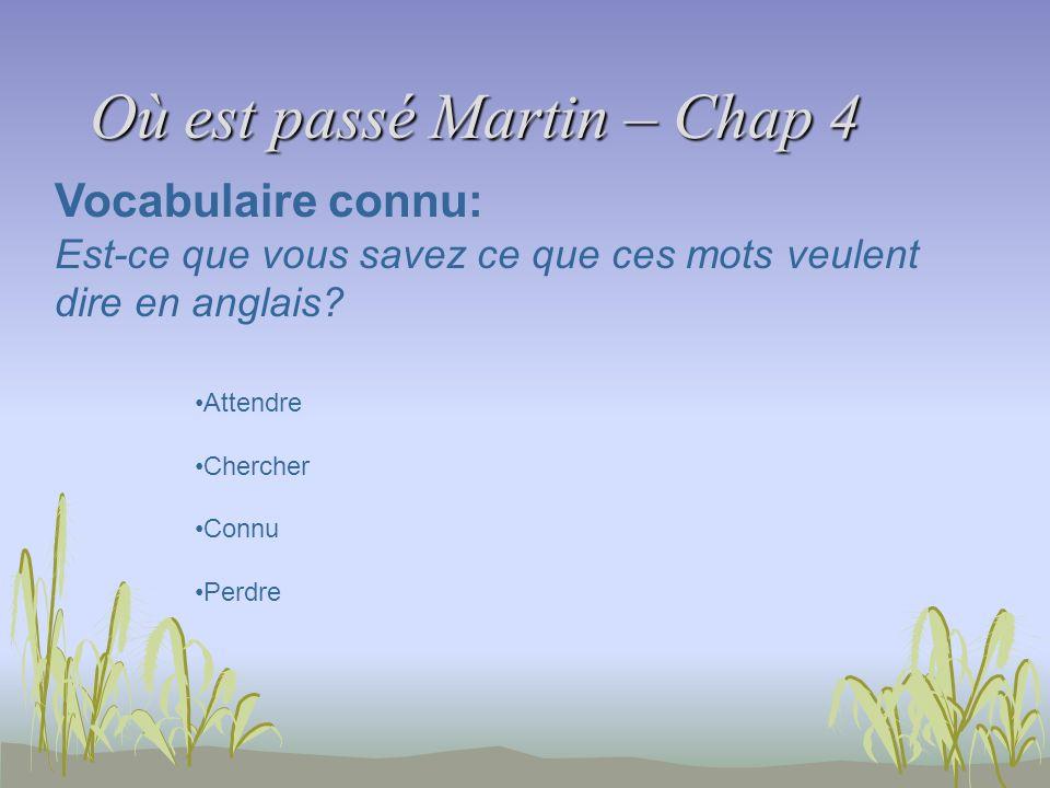 Où est passé Martin – Chap 4 Vocabulaire connu: Est-ce que vous savez ce que ces mots veulent dire en anglais? Attendre Chercher Connu Perdre