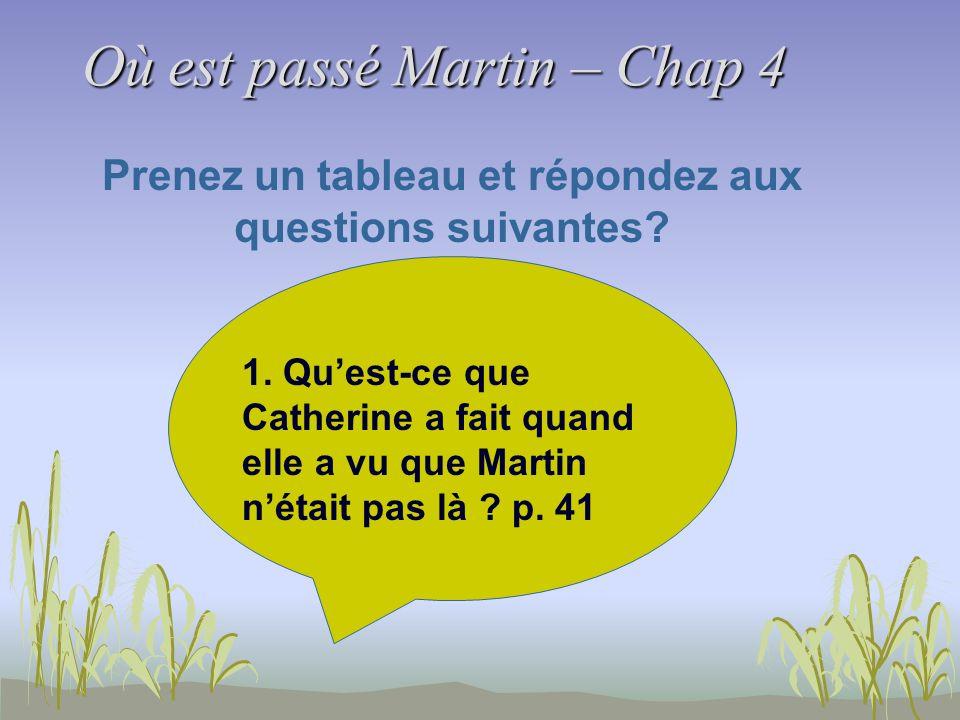 Où est passé Martin – Chap 4 Prenez un tableau et répondez aux questions suivantes? 1. Quest-ce que Catherine a fait quand elle a vu que Martin nétait