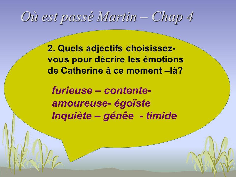 Où est passé Martin – Chap 4 2. Quels adjectifs choisissez- vous pour décrire les émotions de Catherine à ce moment –là? furieuse – contente- amoureus