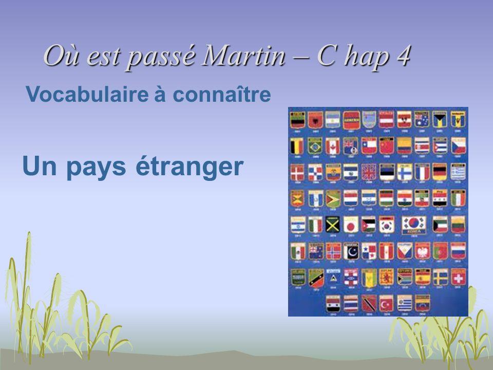 Où est passé Martin – C hap 4 Vocabulaire à connaître Un pays étranger