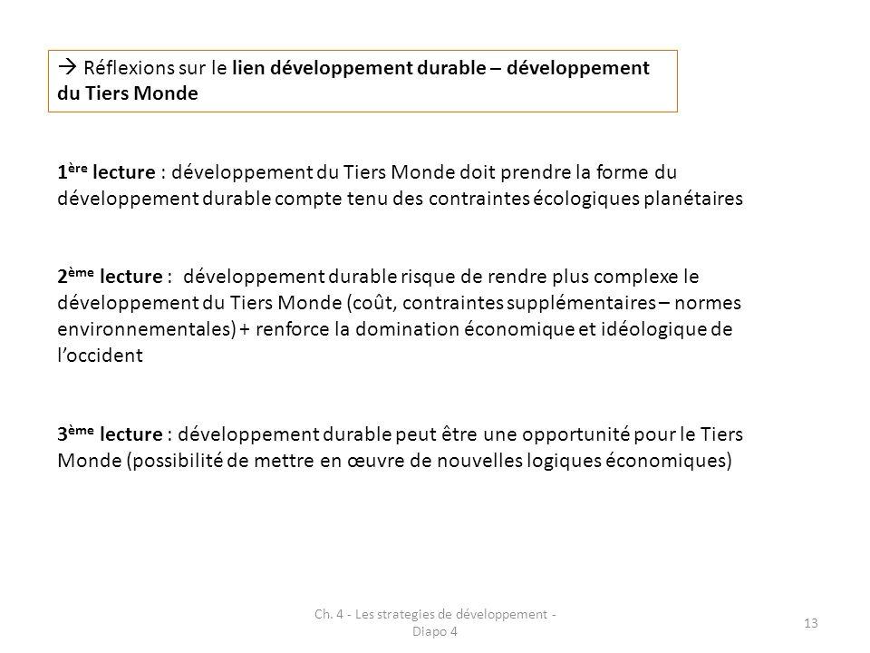 Ch. 4 - Les strategies de développement - Diapo 4 13 Réflexions sur le lien développement durable – développement du Tiers Monde 1 ère lecture : dével