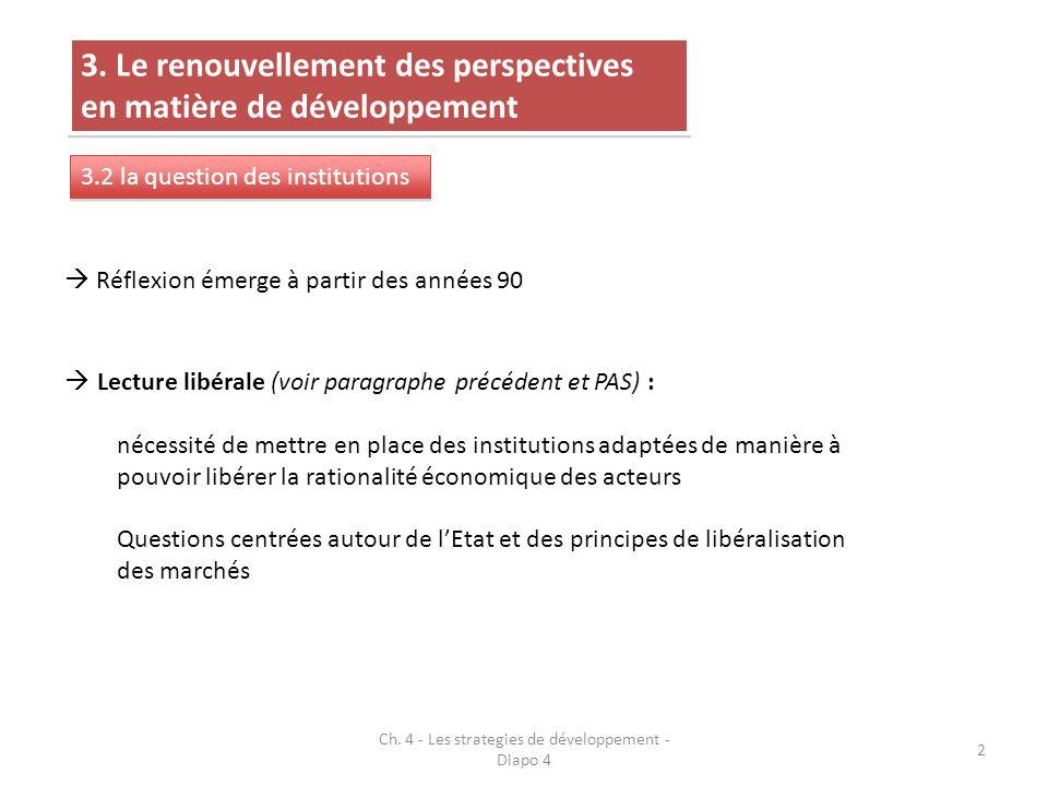 3. Le renouvellement des perspectives en matière de développement 3.2 la question des institutions Réflexion émerge à partir des années 90 Lecture lib