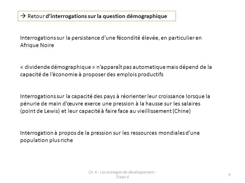 Ch. 4 - Les strategies de développement - Diapo 4 9 Retour dinterrogations sur la question démographique « dividende démographique » napparaît pas aut