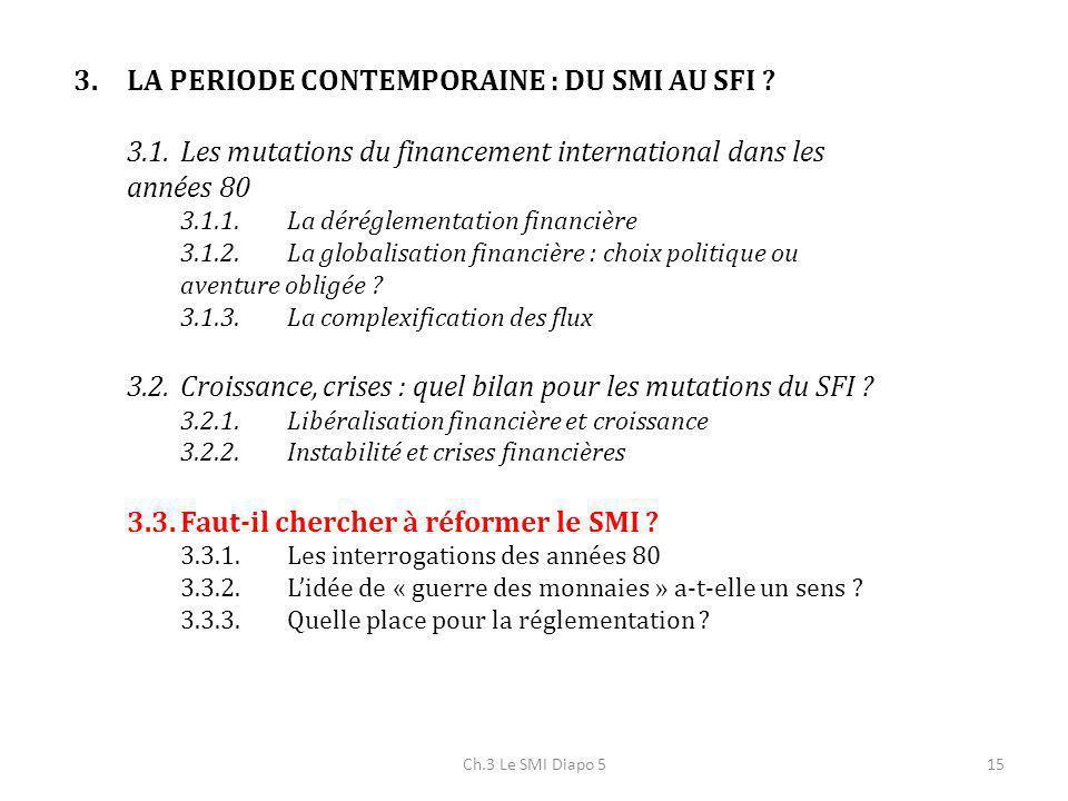 Ch.3 Le SMI Diapo 515 3.LA PERIODE CONTEMPORAINE : DU SMI AU SFI ? 3.1.Les mutations du financement international dans les années 80 3.1.1.La déréglem