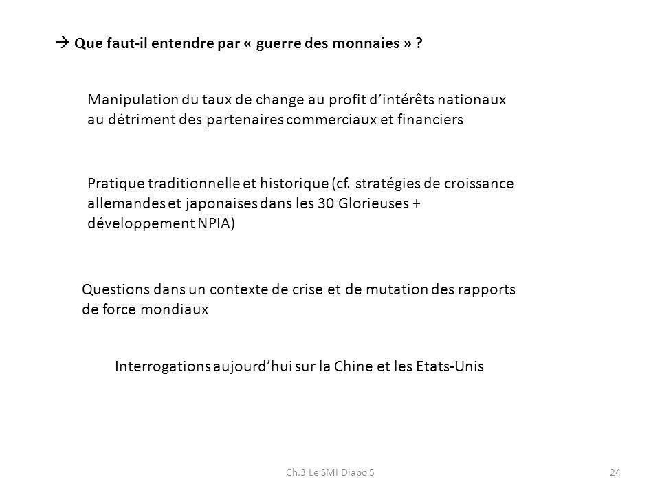 Ch.3 Le SMI Diapo 524 Que faut-il entendre par « guerre des monnaies » ? Manipulation du taux de change au profit dintérêts nationaux au détriment des