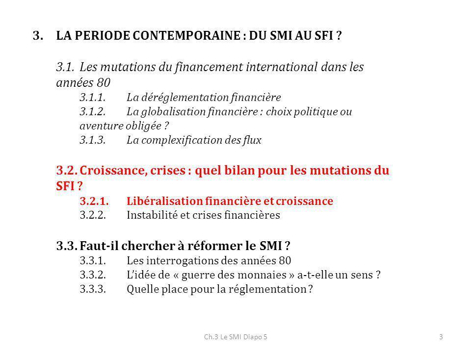 Ch.3 Le SMI Diapo 53 3.LA PERIODE CONTEMPORAINE : DU SMI AU SFI ? 3.1.Les mutations du financement international dans les années 80 3.1.1.La dérégleme