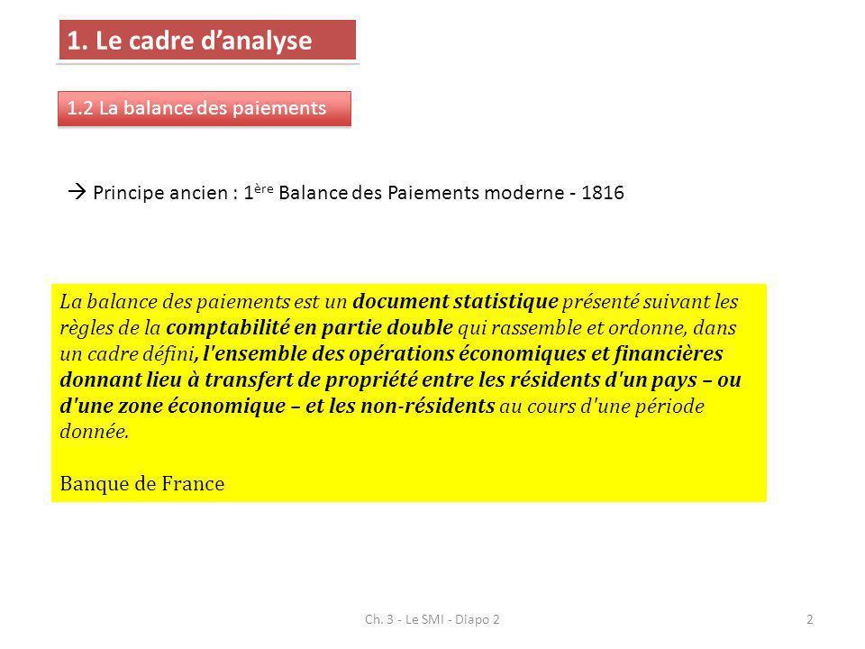 1. Le cadre danalyse 1.2 La balance des paiements La balance des paiements est un document statistique présenté suivant les règles de la comptabilité