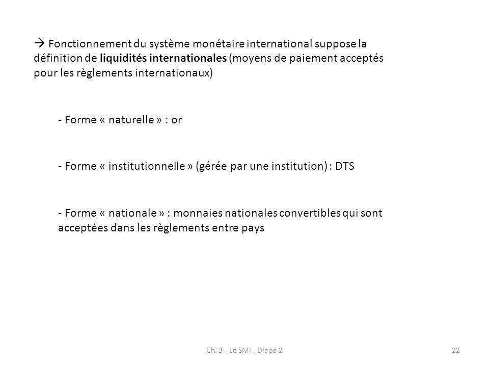 Ch. 3 - Le SMI - Diapo 222 Fonctionnement du système monétaire international suppose la définition de liquidités internationales (moyens de paiement a
