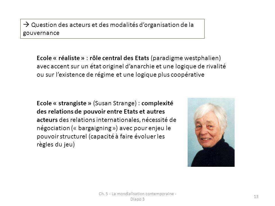 Ch. 5 - La mondialisation contemporaine - Diapo 3 13 Question des acteurs et des modalités dorganisation de la gouvernance Ecole « réaliste » : rôle c
