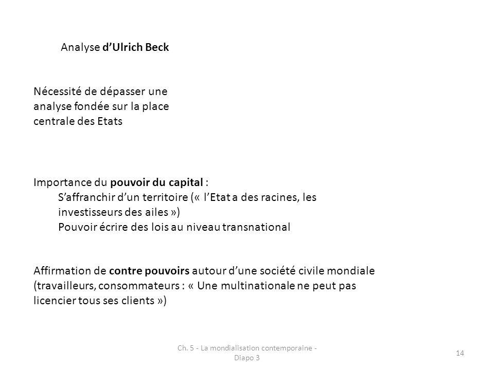 Ch. 5 - La mondialisation contemporaine - Diapo 3 14 Analyse dUlrich Beck Nécessité de dépasser une analyse fondée sur la place centrale des Etats Imp